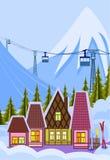 Kleine skitoevlucht stock illustratie