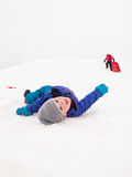 Kleine sledging Kinder Stockfotografie
