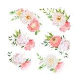 Kleine Sommerblumensträuße von stiegen, Pfingstrose, Ranunculus, Dahlie, Gartennelke, Grünpflanzen Stockbilder