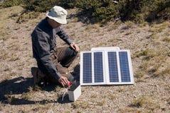 Kleine Sonnenenergie innen draußen Lizenzfreies Stockfoto