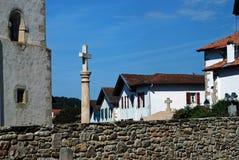Kleine stad in Baskisch Land, Frankrijk Stock Foto's