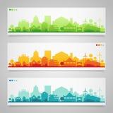 Kleine stad en dorpssilhouetten multicolored Royalty-vrije Stock Foto's