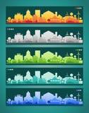 Kleine stad en dorpssilhouetten multicolored royalty-vrije illustratie