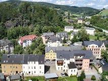 Kleine stad in Erzgebirge Stock Afbeeldingen