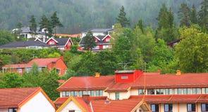 Kleine stad in Europa Stock Foto's