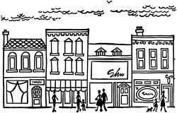 Kleine Stad Main Street Royalty-vrije Stock Afbeeldingen