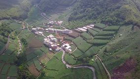 Kleine Stad met Theeaanplanting op Alishan-Bergengebied, Taiwan Lucht Mening stock videobeelden