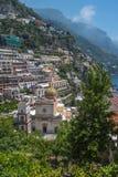 Kleine stad van Positano, Amalfi Kust, Campania, Italië Stock Foto