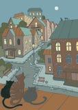 Kleine stadsstraat stock illustratie