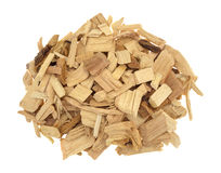 Kleine stapel van hickory rokende spaanders voor barbecue stock fotografie