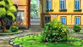 Kleine stedelijke tuin, binnenplaats royalty-vrije illustratie