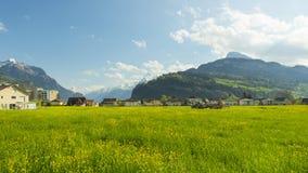 Kleine steden in Europa Brunnen zwitserland Royalty-vrije Stock Foto's