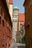 Kleine steeg achter het Stadhuis, Augsburg, Duitsland Royalty-vrije Stock Foto