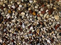 Kleine Steine auf Strand, Ansicht durch Wasser, Sonnenlicht Stockfoto