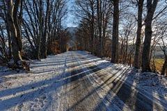 Kleine Straße Snowy in den französischen Alpen lizenzfreie stockfotos