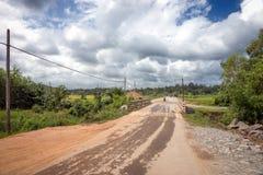 Kleine Straße umgeben durch Felder und Dschungel Lizenzfreie Stockbilder