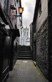 Kleine Straße mit einigen Schritten in Kilkenny im Stadtzentrum gelegen, Irland Stockfotos