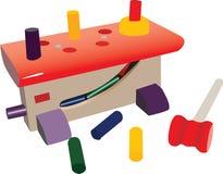 Kleine stuk speelgoed workshop, met plastic hulpmiddelen Stock Illustratie