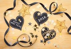 Kleine Tafeln mit Weihnachtsdeko Stock Photo