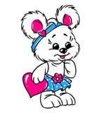Kleine Teddybärmädchen-Valentinsgrußkarte Stockfoto