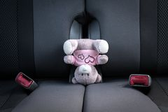 Kleine teddybeer die zich op zijn hoofd op een autozetel bevinden royalty-vrije stock afbeeldingen