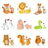 Kleine Tiere und ihr Vati-Illustrations-Satz Stock Abbildung