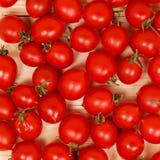 Kleine Tomaten auf hellem hölzernem Hintergrund Lizenzfreie Stockfotos