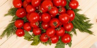 Kleine Tomaten und frische Kräuter auf hölzernem Hintergrund Stockfotos