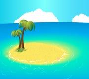 Kleine unbewohnte Insel mit tropischen Palmen Stockbilder