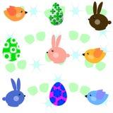 Kleine Vögel und Kaninchen Stockbild