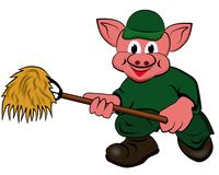 Kleine varkens, de landbouwer Royalty-vrije Stock Afbeeldingen