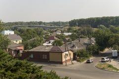 Kleine vectorhuizen Mening vanaf de bovenkant van de Boldin-bergen, Chernigov, de Oekraïne 15 juli, 2017 Royalty-vrije Stock Afbeeldingen