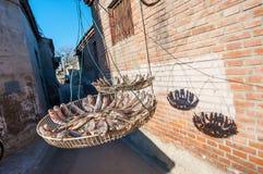 Kleine vissen die in de zon in Peking drogen hutong, China stock afbeelding