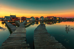 Kleine visserijplattelandshuisjes Royalty-vrije Stock Fotografie