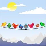 Kleine vogels die op de draad worden neergestreken vector illustratie