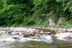 Kleine Wasserfälle auf einem Gebirgsfelsigen Fluss Lizenzfreies Stockbild