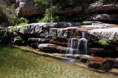 Kleine waterval in Foret-d'Aïtone, Corsica, Frankrijk Stock Foto