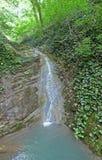 Kleine waterval in het bos royalty-vrije stock afbeelding