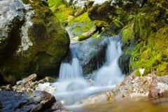 Kleine waterval op SoÄ  een Rivier in Slovenija Royalty-vrije Stock Foto