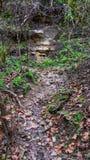 Kleine weg versleten van lopend water, die tot rotsgezicht leiden in partij die van heuvel gele die rots tonen door verwering wor royalty-vrije stock fotografie