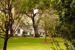 Kleine weiße Kirche durch Bäume und grünen Rasen Lizenzfreie Stockfotos