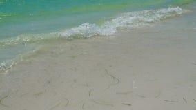 Kleine Wellen, die oben auf einem Strand sich waschen stock video