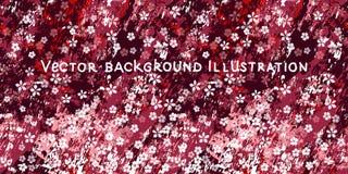Kleine witte bloemen op geweven Bourgondi?, roze en witte marmeren achtergrond stock illustratie