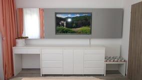 Kleine Wohnungsschlafzimmer-Designidee, Wandfernsehstand, Umkleidekabine, Blumen, rauhaariger Teppich, moderne Parkettbeschaffenh lizenzfreie stockbilder