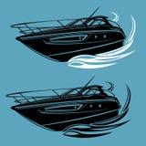 Kleine Yacht lokalisierte Illustration Luxusbootsvektor Stromlinienförmiges Schiff Lizenzfreie Stockfotografie