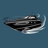 Kleine Yacht lokalisierte Illustration Luxusbootsvektor Stromlinienförmiges Schiff Stockbild