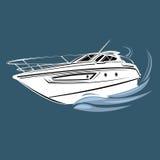 Kleine Yachtillustration Luxusbootsvektor Stromlinienförmiges Schiff Lizenzfreies Stockbild