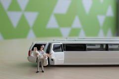 Kleine Zahl Hochzeit mit Auto Lizenzfreie Stockfotografie
