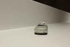 Kleine Zahl Hochzeit mit Auto Stockfotos