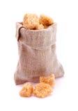 Kleine zak met bruine suiker Stock Foto
